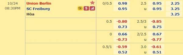 Tỷ lệ kèo bóng đá giữa Union Berlin vs Freiburg